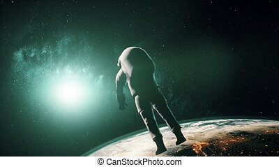 astronaut in white spacesuit in outer space - Astronaut in...