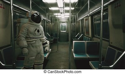 Astronaut Inside of the old non-modernized subway car in USA