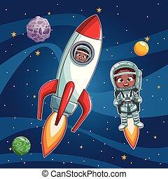 Astronaut kids cartoon