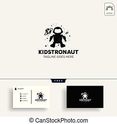 astronaut kids, children dreams logo template vector illustration