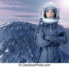 astronaut, kvinna, framtidstrogen, måne, utrymme, planet