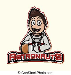 astronaut logo illustration design