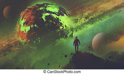 astronaut looking at the acid planet - sci-fi concept of an...