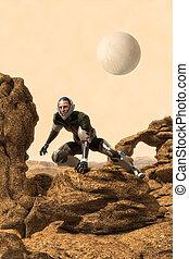 astronaut lost on alien planet 3D render science fiction...