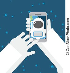 Astronaut makes selfie in space. Astronaut photographed myself on  phone against a backdrop of planet Earth. Vector illustration.