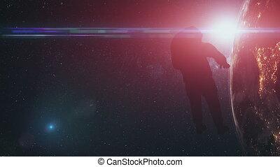 astronaut man silhouette against realistic Earth