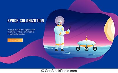 Astronaut manages rover. Space colonization concept. Modern...