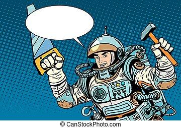 astronaut, med, redskapen, för, reparera