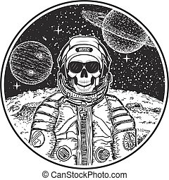 Astronaut music skull vector modern t-shirt design template