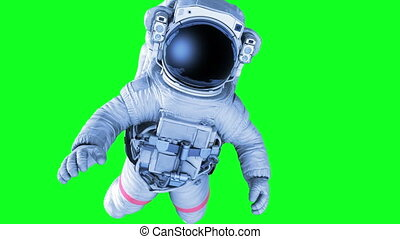 Astronaut on a Green Screen. 3d animation, Full HD