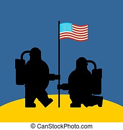 Astronaut on moon and flag USA. Cosmonaut made in America. spaceman Vector illustration