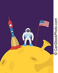 Astronaut on  moon. Cosmic man with the flag of America and rocket space ship. Vector illustration