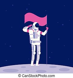 Astronaut on moon. Cosmonaut holging flag on lifeless planet in outer space. Astronautics vector background