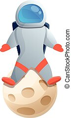 Astronaut on moon icon, cartoon style
