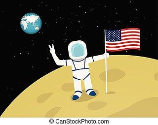 Astronaut on moon surface with US flag, vector