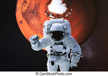 Astronaut on the background of Mars.