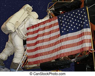 astonaut begins his walk on the moon with the american flag in the foreground
