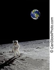 astronaut on the moon beneath a glowing earth. (some ...