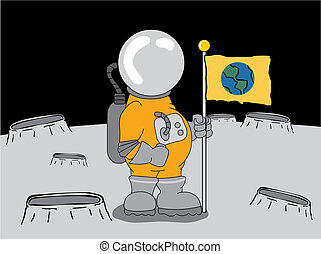 Astronaut on the moon - Space explorer placing flag on...