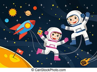 Astronaut on the planet with a alien spaceship. Space scenes.