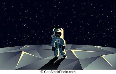 Astronaut on the polygonal moon surface. Flat geometric space illustration.