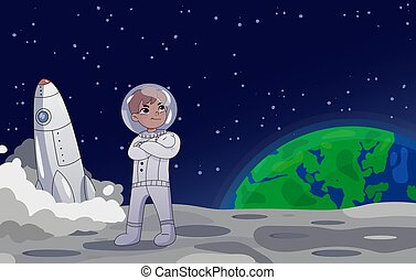 Astronaut or cosmonaut standing on the moon alongside the USA flag with a rocket in the background. Earth rising in the background. Cartoon style. Colorful Vector illustration