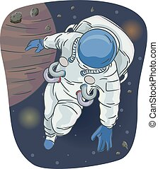 Astronaut Outer Space Illustration
