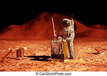 astronaut, på, mars