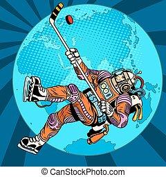 Astronaut plays hockey over planet Earth pop art retro...