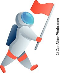 Astronaut red flag icon, cartoon style