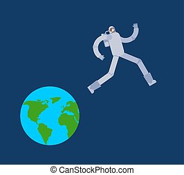Astronaut run away Earth. Spaceman escapes from planet....