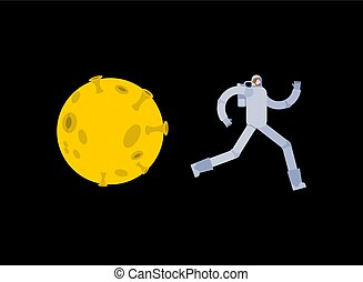 Astronaut run away from moon. Spaceman escapes from Selene....