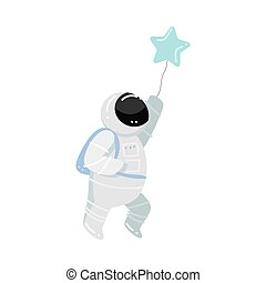 Astronaut running and holding baloon in star shape vector illustration