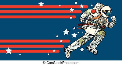 astronaut runs forward. stars of the universe. Pop art retro vector illustration vintage kitsch