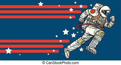 astronaut runs forward. stars of the universe. Pop art retro vector illustration vintage kitsch