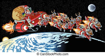 Vector cartoon clip art illustration of Santa Claus and his reindeer wearing astronaut space suits and driving a rocket powered sleigh in earth orbit. Important objects on separate layers.