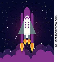 Astronaut ship illustration flat