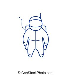 Astronaut Simple Contour Drawing