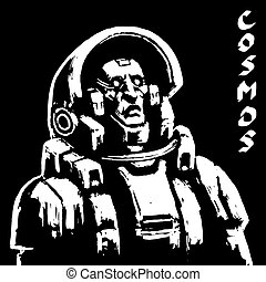 Astronaut sketch on black background. Cool science fiction spaceman cover. Serious character in space suit. Vector illustration.