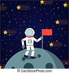 astronaut solar system flat