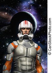 Astronaut space commander pilot 3D render science fiction...