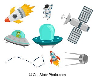Astronaut space landing planets spaceship future exploration space ship cosmonaut rocket shuttle vector illustration