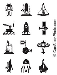 Astronaut, space shuttle and spaceship - vector illustration