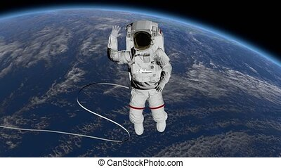 Astronaut Spacewalk, waving his hand in the open space. Elements of this image furnished by NASA.