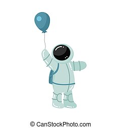 Astronaut standing and holding baloon in hand vector illustration