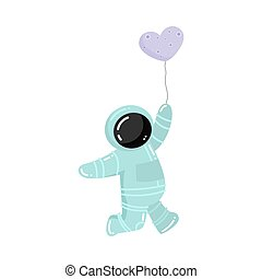 Astronaut standing and holding baloon in heart shape vector illustration