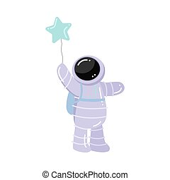 Astronaut standing and holding baloon in star shape vector illustration