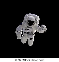Astronaut - Flying astronaut on a black background. Some...