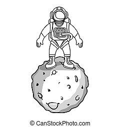 astronaut, systém, sluneční, měsíc