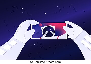 Astronaut taking selfie on the space background